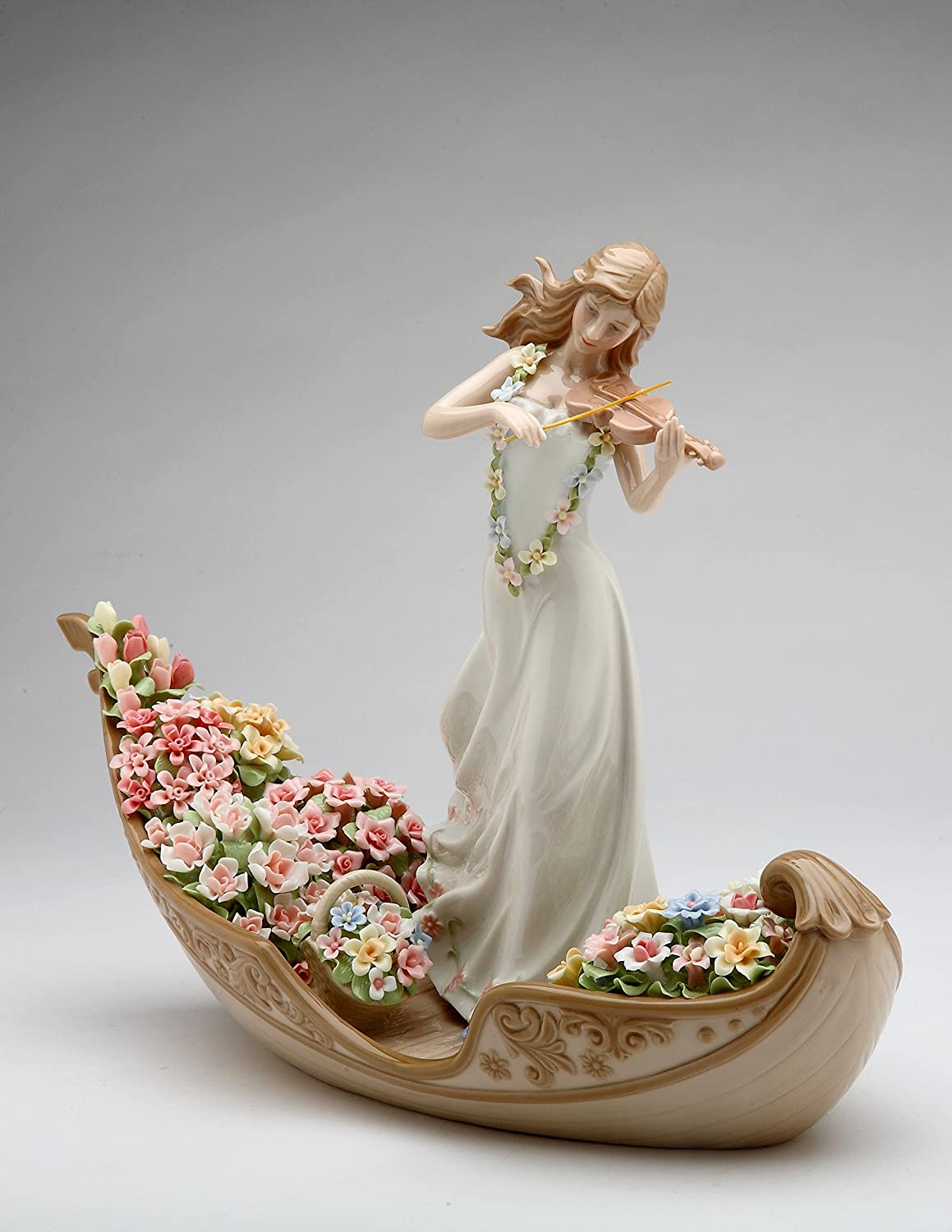 Amazon Com Cosmos Gifts 96643 Fine Elegant Porcelain Flower Inspiration Lady Playing Violin On Floating Flowers Boat Figurine 13 1 4 Home Kitchen
