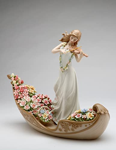 Cosmos Gifts 96643 Fine Elegant Porcelain Flower Inspiration Lady Playing Violin on Floating Flowers Boat Figurine, 13-1 4