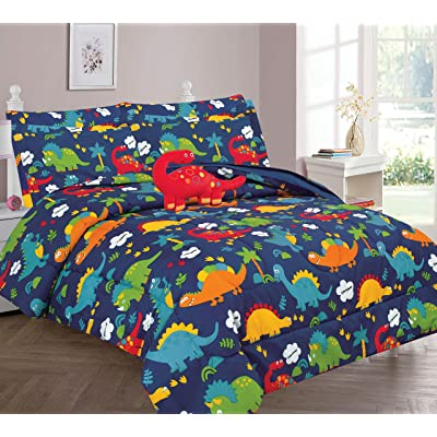 Golden Linens Kids Bed-in-Bag Multi Color Orange Green, Navy Blue Dinosaur Full Size Comforter, Sheet Set with Pillow Cushion Toy# 8Pcs Multi Color Dinosaur: Home & Kitchen