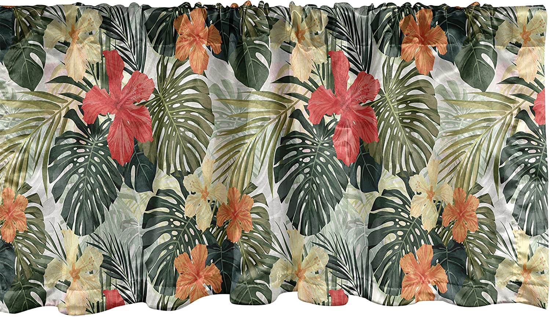 Lunarable Leaf Window Valance, Hawaiian Summer Tropical Island Vegetation Leaves Hibiscus Flowers, Curtain Valance for Kitchen Bedroom Decor with Rod Pocket, 54