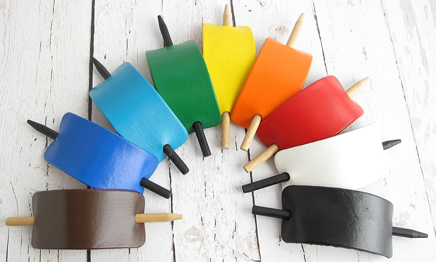 Hair Barrettes, Leather Hair Accessories, Colorful Leather Hair Stick Barrettes, Leather Hair Clips, Leather Stick Barrette, Ponytail Cuff, Hair Bun Holder