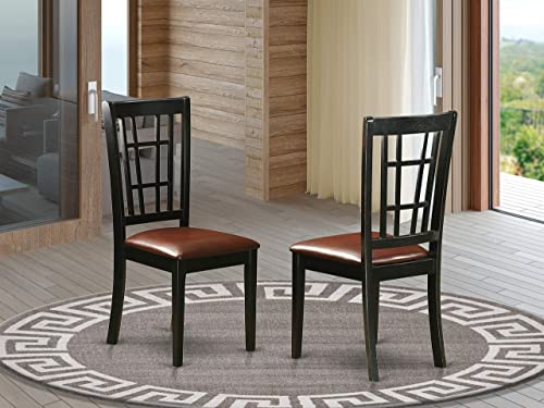 East West Furniture Nicoli padded Parson Chair Faux Leather Seat and Black Hardwood Shape dining chair set of 2