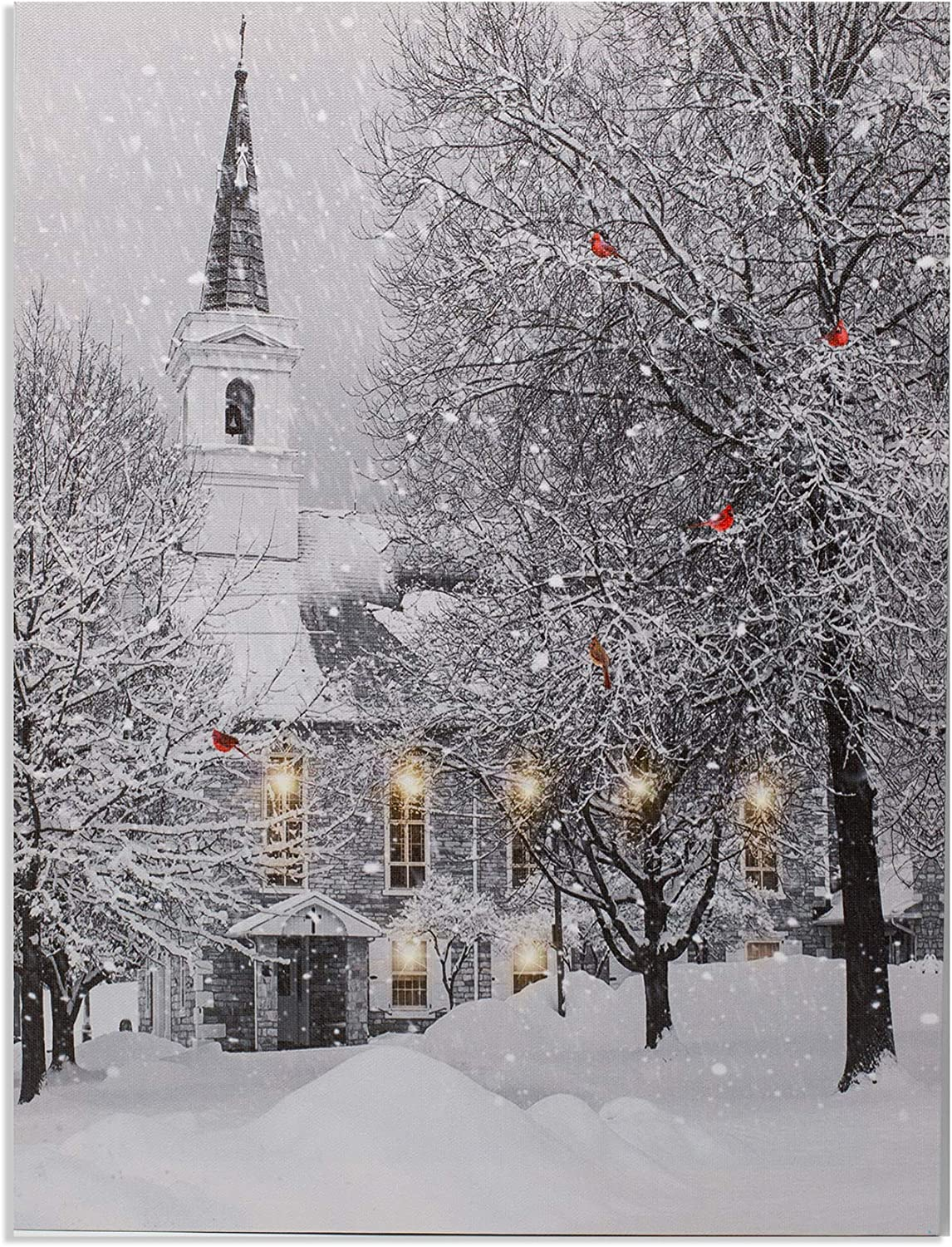 Amazon Com Christmas Wall Art Led Lighted Canvas Print With A Winter Scene And Village Church Xmas Tree Holiday Wreath And Cardinals Posters Prints
