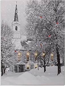 Christmas Wall Art - LED Lighted Canvas Print with a Winter Scene and Village Church - Xmas Tree, Holiday Wreath and Cardinals