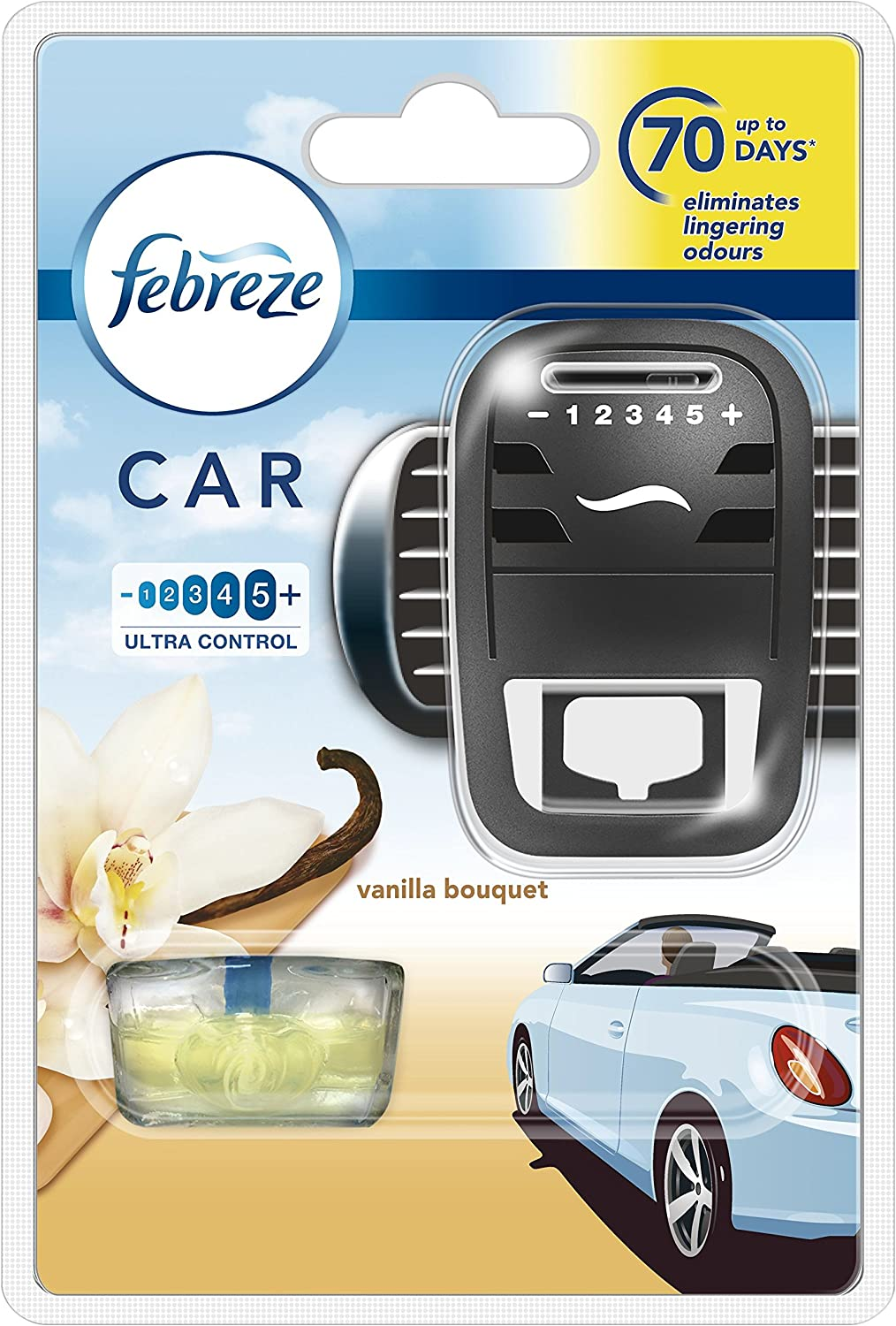 Febreze Car Air Freshener Vanilla Bouquet, in-Car Air Vent Clip Starter Kit, Cleans Away Tough Odours from Your Car, 7 ml, Pack of 4