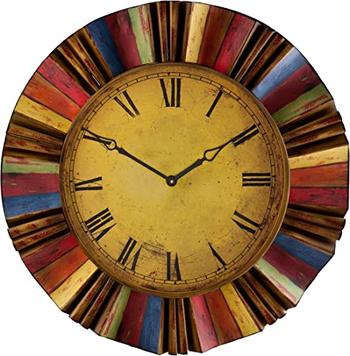 Ojeda Wall Clock Art D cor – Multicolor Finish – Large Face w Roman Numerals