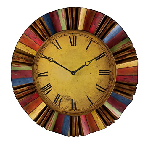 Ojeda Wall Clock Art D cor – Multicolor Finish – Large Face w Roman Numerals