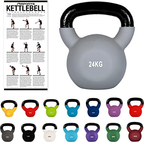 Msports kettlebell professionale 2-30 kg | ghisa revestimento in neoprene | incl. workout pdf | diversi colori B01MT5MDGD