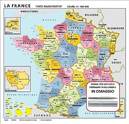 Cartina Della Francia Fisica.Carta Geografica Murale Francia In Lingua Madre Francese 100x140