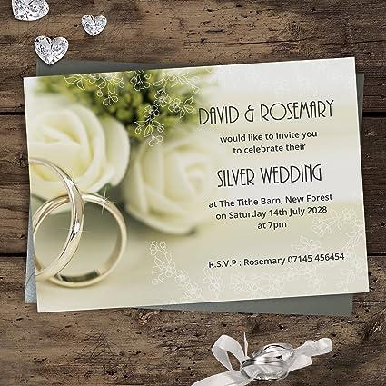 Silver Wedding Anniversary Invitations 25th Silver Rings Design