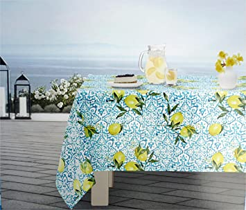 Merveilleux Envogue Indoor / Outdoor Fabric Tablecloth Bright Yellow Lemons Blue  Geometric Design On White