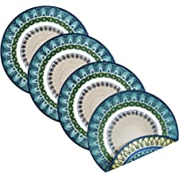 Villeroy and Boch 休闲蓝棉质面料双面餐垫(4 件套),38.1cm 圆形,多色