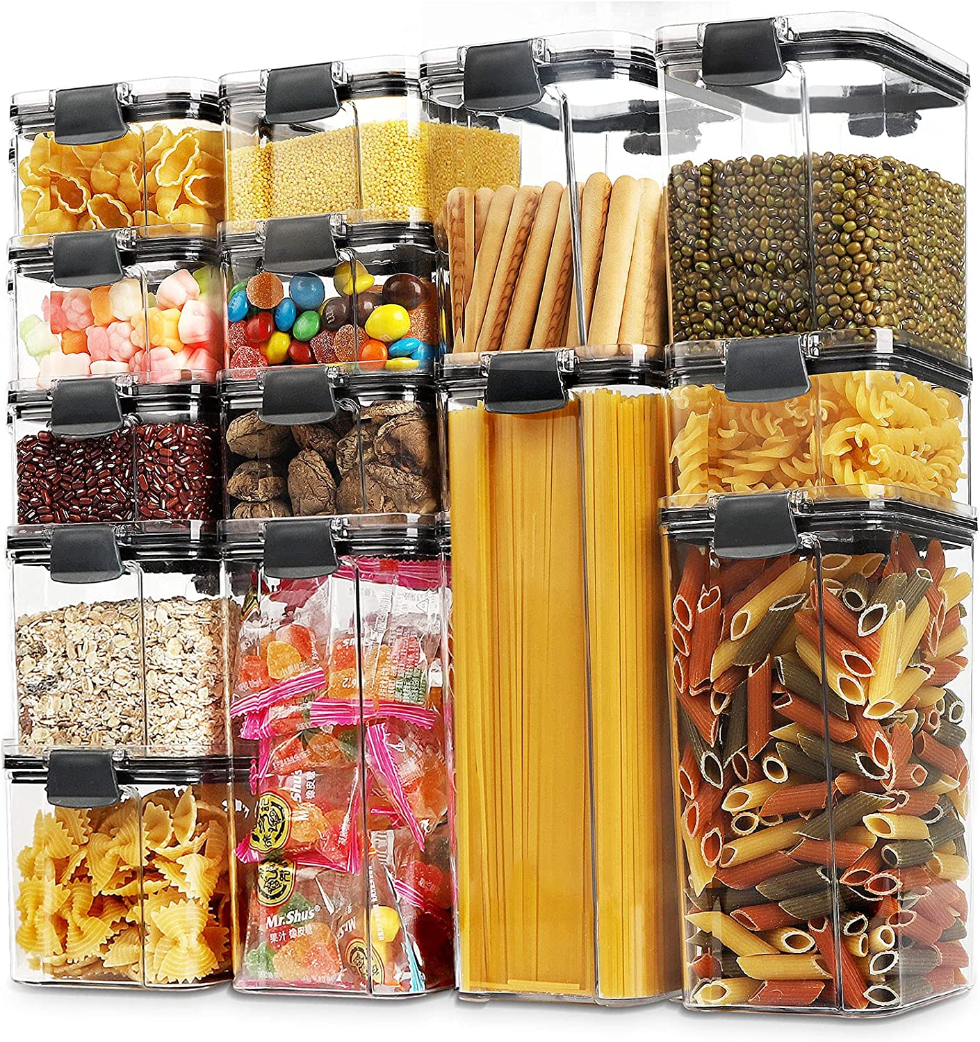 14 Pack Airtight Food Storage Container Set, BPA Free Plastic Cereal Containers with Easy Lock Lids, Kitchen and Pantry Organization Containers