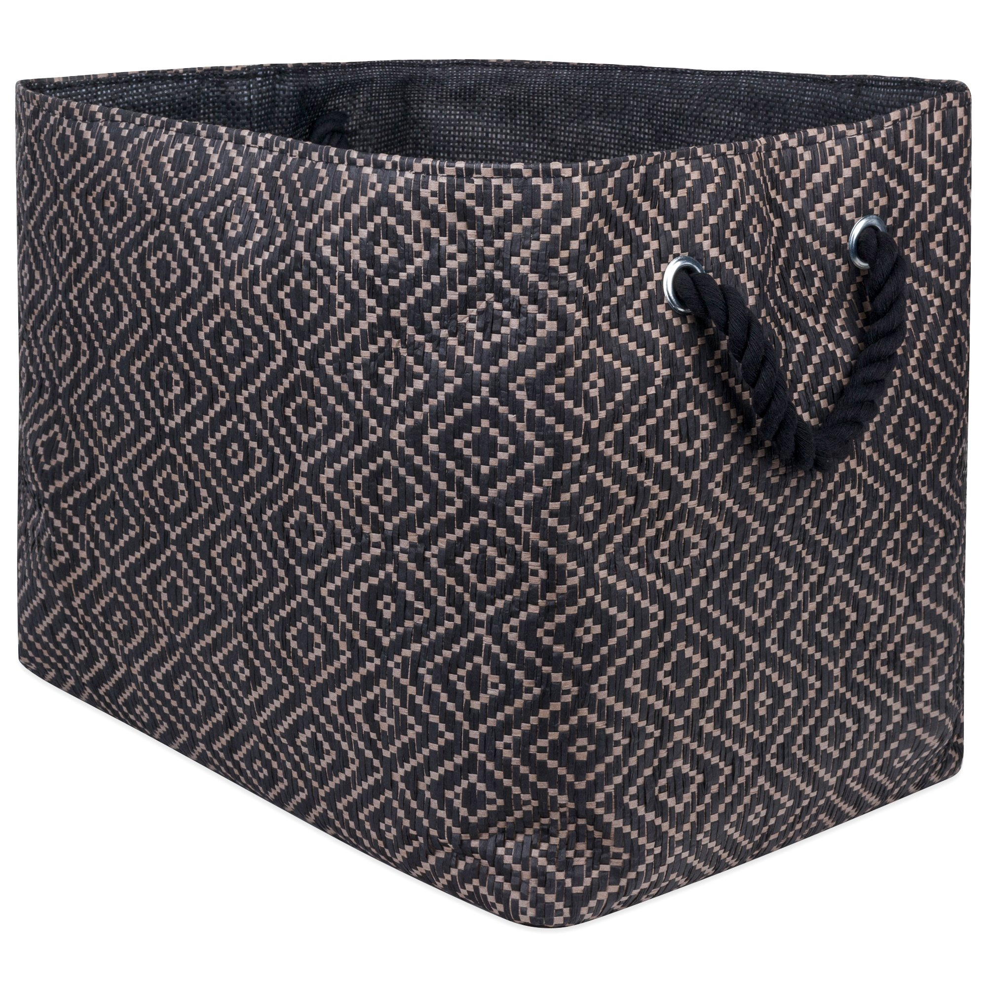 "DII Oversize Woven Paper Storage Basket or Bin, Collapsible & Convenient Home Organization Solution for Office, Bedroom, Closet, Toys, Laundry (Large - 17x12x12""), Brown & Black Diamond Basketweave by DII"