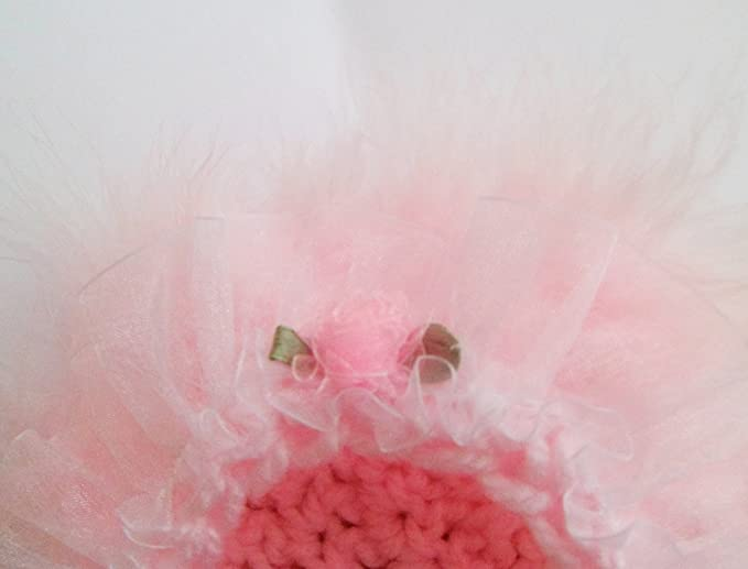 69b191c91 Baby Girls Knitted Warm Frilly Bonnet Hat - Pink Roses With Feathers - 0-6  Months Approx