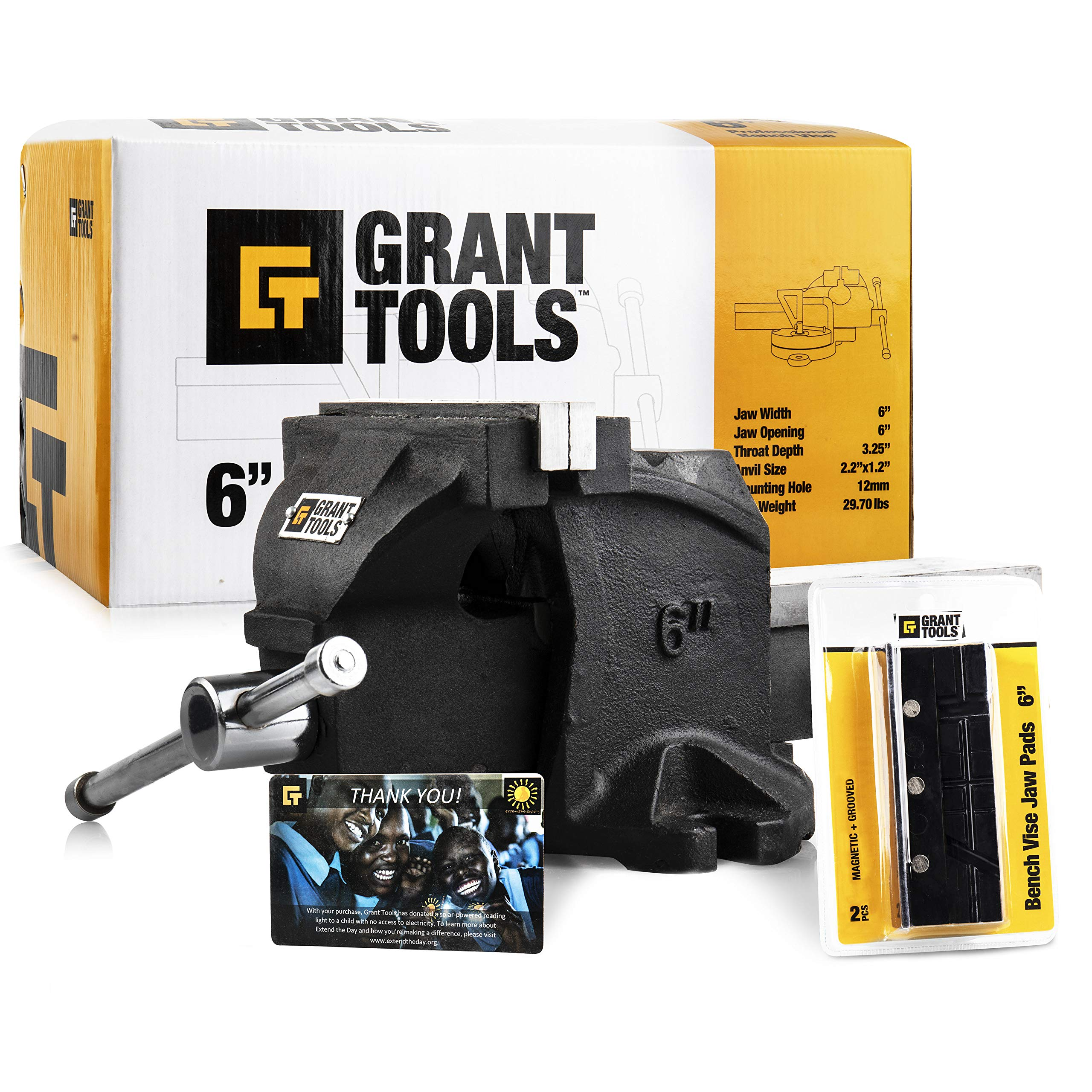 Grant Tools Professional Bench Vise (4'' and 6'' Available) | 2 Vise Jaws Included | With Each Vise Sold 1 Solar Light is Donated to a Child Abroad in Need via Extend The Day (6'')