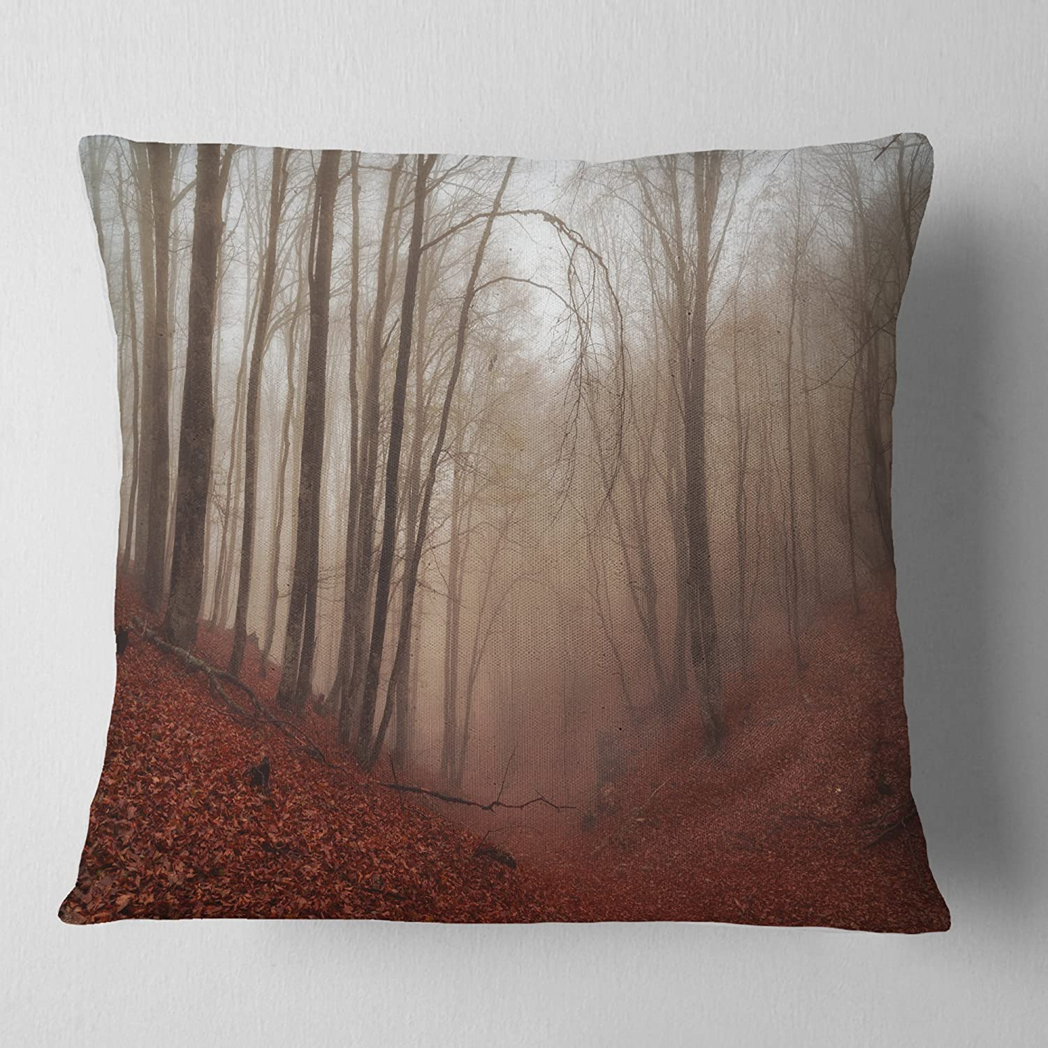 Sofa Throw Pillow 18 in in x 18 in Designart CU9809-18-18 Red Leaves in Foggy Fall Forest Landscape Photography Cushion Cover for Living Room Insert Printed On Both Side