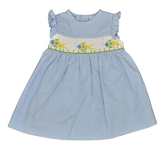 4eb8de4d120ec Amazon.com: Carriage Boutique Baby Girl Blue Plaid Dress - Smocked ...