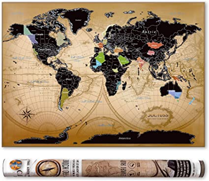 Doctuss - Kit de póster con diseño de mapa del mundo de los arañazos, incluye pines, rascadores, pegatinas de la bandera y llavero con brújula, regalo creativo para los viajeros: Amazon.es: Oficina