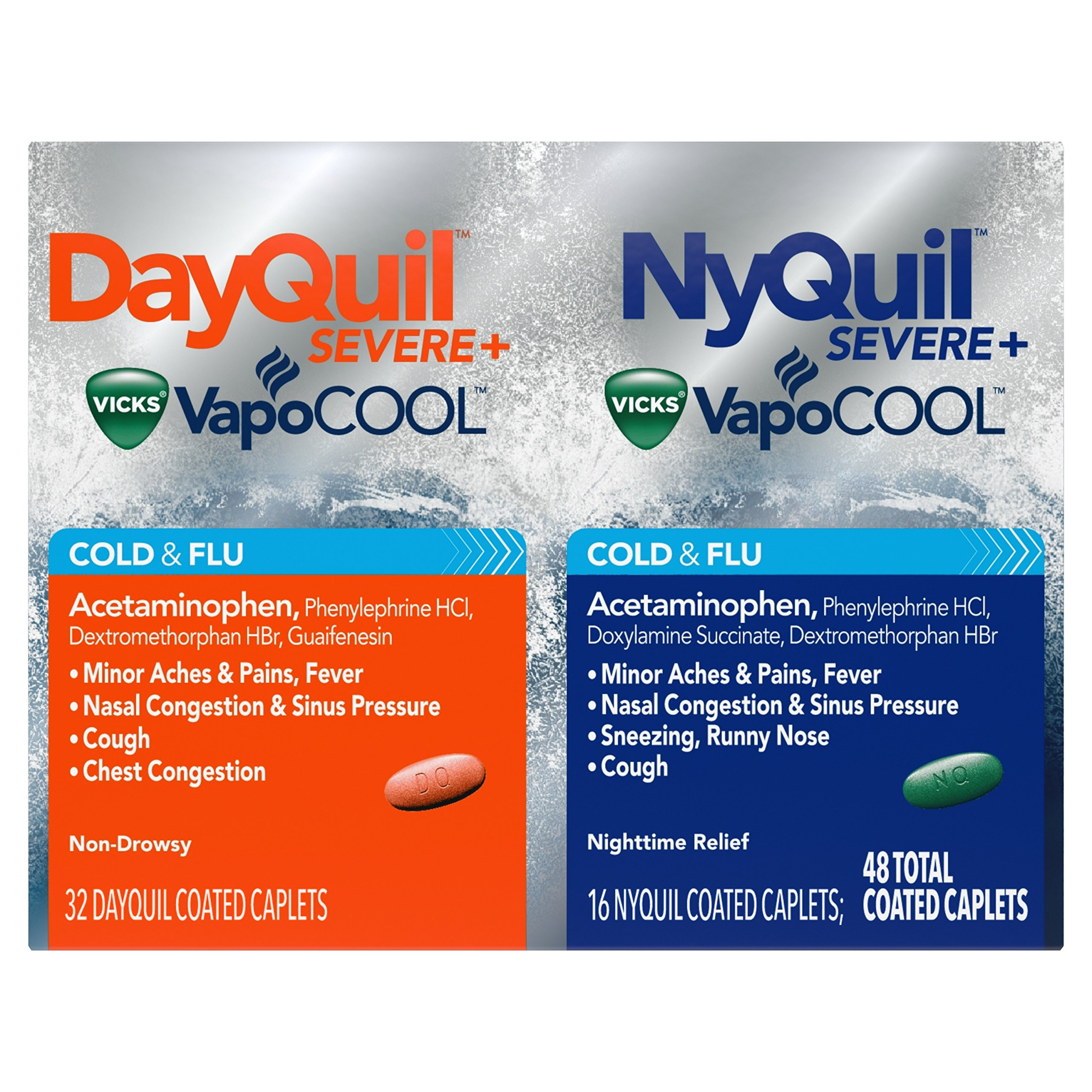 DayQuil and NyQuil SEVERE with Vicks VapoCOOL Cough, Cold & Flu Relief, Caplets, 48 Count (32 DayQuil & 16 NyQuil) - Relieves Sore Throat, Fever, and Congestion, Day or Night (Packaging May Vary) by Vicks