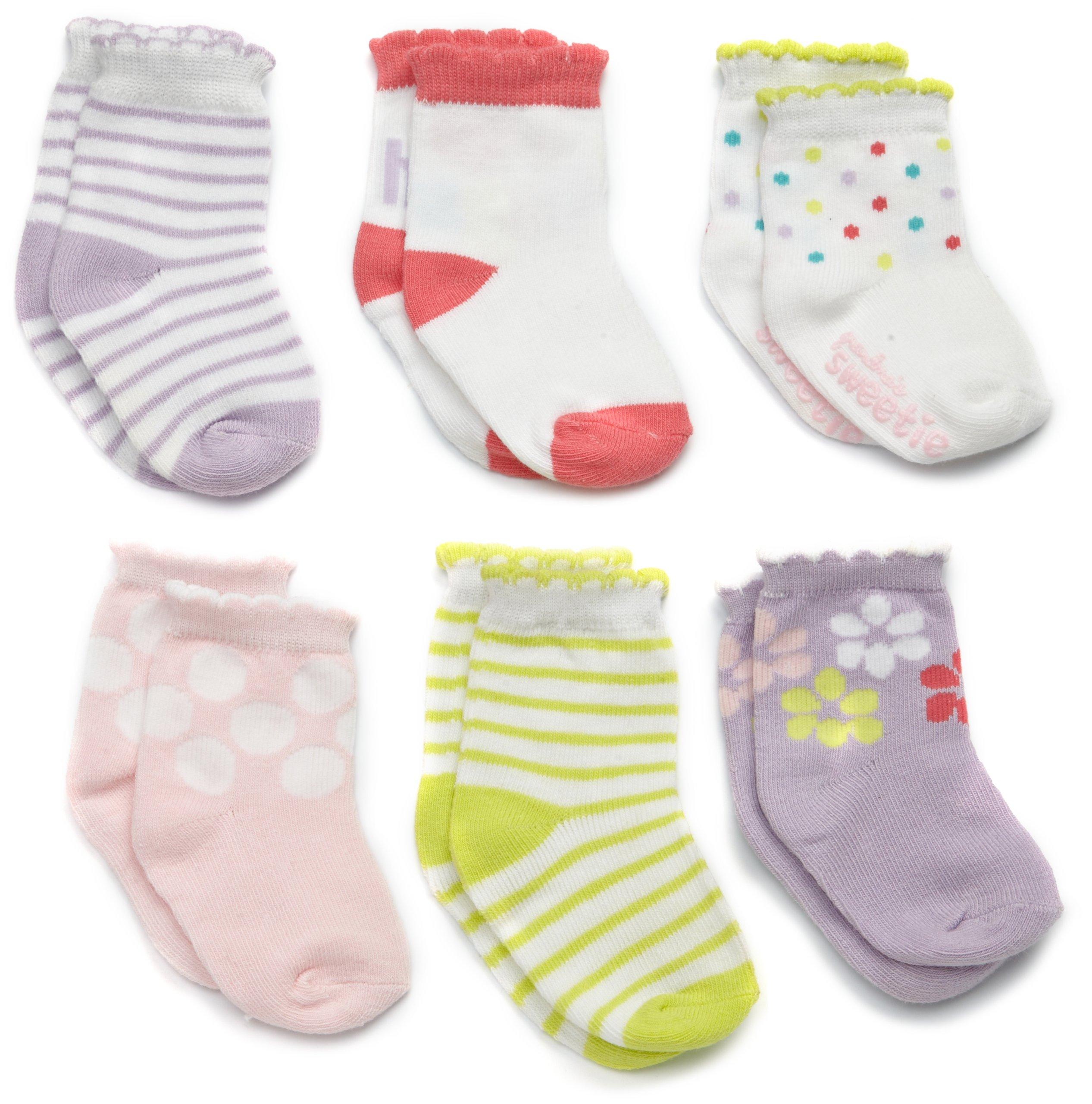 Carter's Hosiery Baby-girls Newborn 6 Pack Comp Hugs Socks, Assorted Colors, 3-12 Months