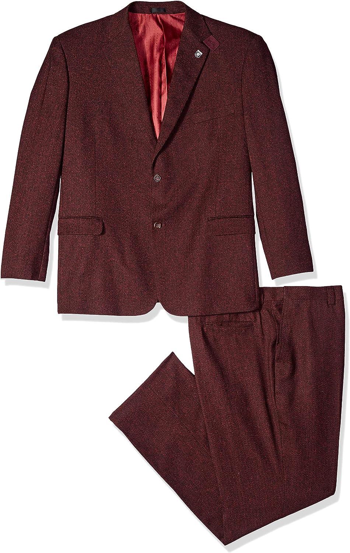 STACY ADAMS Men's 3-Piece Notch Lapel Boucle Vested Suit