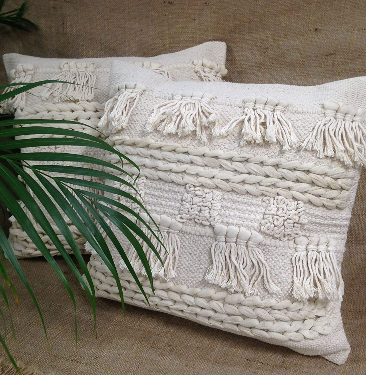 indian antique french cushions. Natural Cream Macrame Boho Cushion Covers With Tassels Fringes And Bobble Detail (Natural Plait \u0026 Tassels): Amazon.co.uk: Kitchen Home Indian Antique French Cushions M
