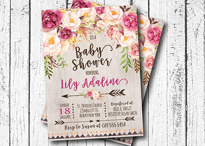boho arrow bridal shower invitation bridal shower baby shower its a girl