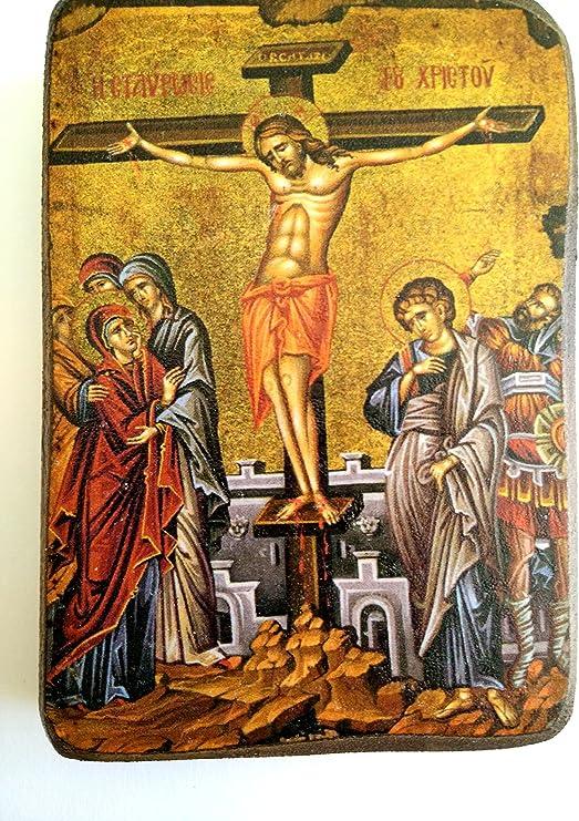 Ikone Kreuzigung Jesus Christus geweiht Holzplate икона распятие Иисуса 12x10x2