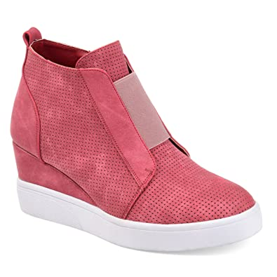 86089cc4da2b Journee Collection Womens Athleisure Laser-Cut Side-Zip Sneaker Wedges  Pink