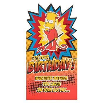 Hallmark The Simpsons Birthday Cardbart Medium Amazon