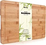 Premium Organic Bamboo Chopping Board by Harcas. Extra Large Size Cutting Board 44.5cm x 30cm x 2cm. Best for Meat, Vegetables and Cheese. Professional Grade for Strength and Durability. Drip Groove