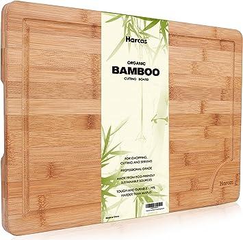 Premium Organic Bambus Schneidebrett Von Harcas Extra Grosse