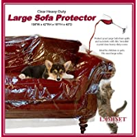 LAMINET Thick Crystal Clear Heavy-Duty Water Resistant Sofa/Couch Cover - Perfect for Protection Against CAT/Dog Clawing, Kids and Grandkids!!! - Large Sofa - 42″ BH x 18″ FH x 108€W x 40€D
