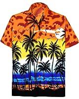 LA LEELA Shirt Camicia Hawaiana Uomo XS - 5XL Manica Corta Hawaii Tasca-Frontale Stampa Hawaiano Casuale Regular Fit Rosso999