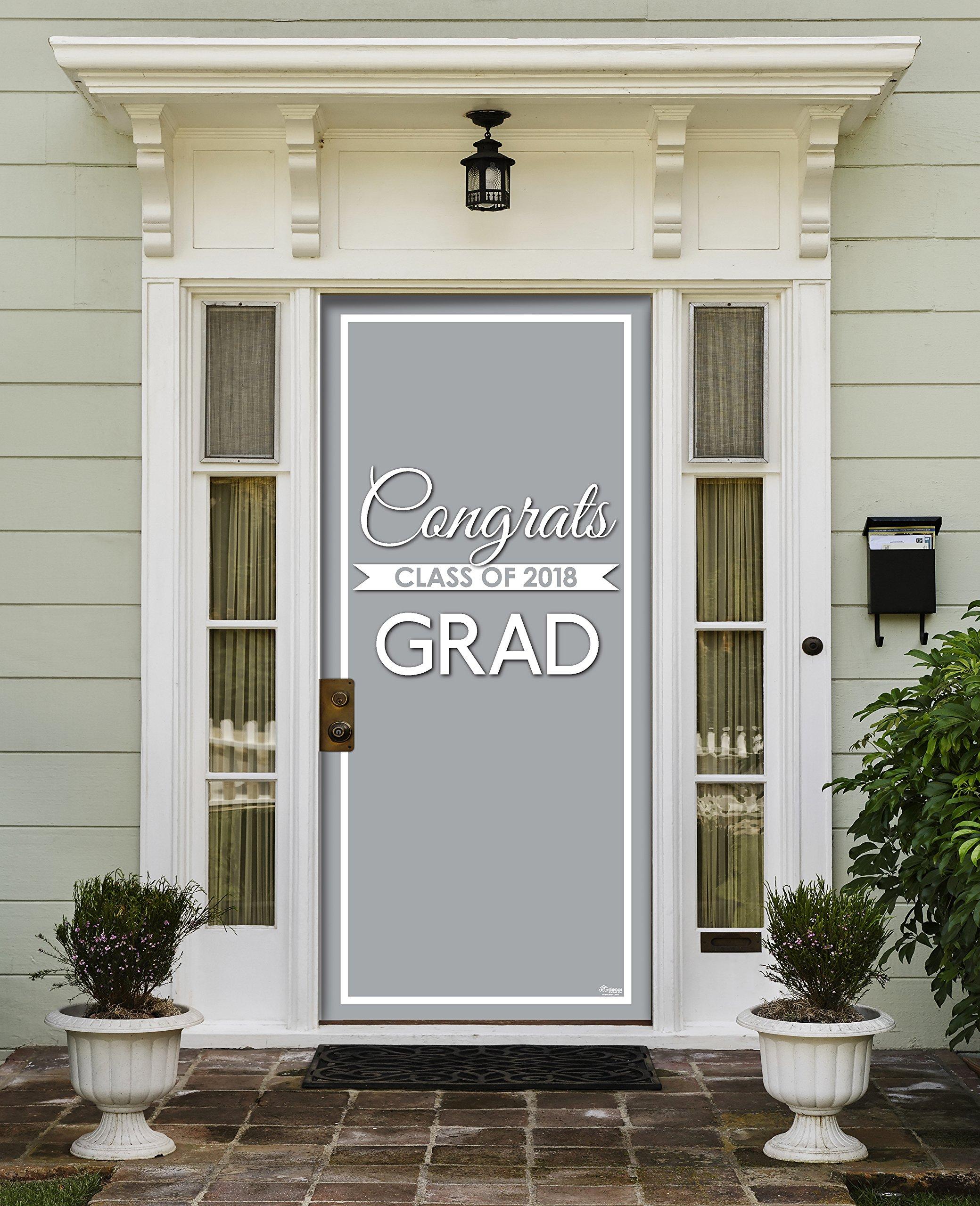 Victory Corps Class Banner Grey - Outdoor GRADUATION Garage Door Banner Mural Sign Décor 36'' x 80'' One Size Fits All Front Door Car Garage -The Original Holiday Front Door Banner Decor