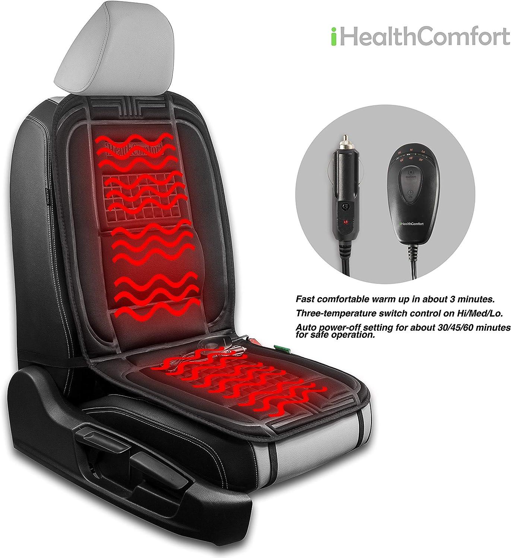 12V Car Heated Seat Cushion Cover Pad Sojoy Holding Ltd. iHealthComfort Black