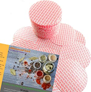 """Pressure Sensitive Torque Activated Seals Cap Liners - 53 mm (2.09"""") -50 PCS -Made in USA- for Glass & Plastic Bottles & Containers - No Induction Sealer Needed"""