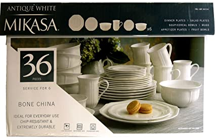 Mikasa Antique White 36-pc Bone China Dinnerware Set Service for 6 : antique white dinnerware - pezcame.com