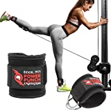 Pair of POWER PUNCH Ankle Straps for Cable Machines   Glute Workouts   Leg Workouts   Weight Machines   Leg Extensions   Cabl