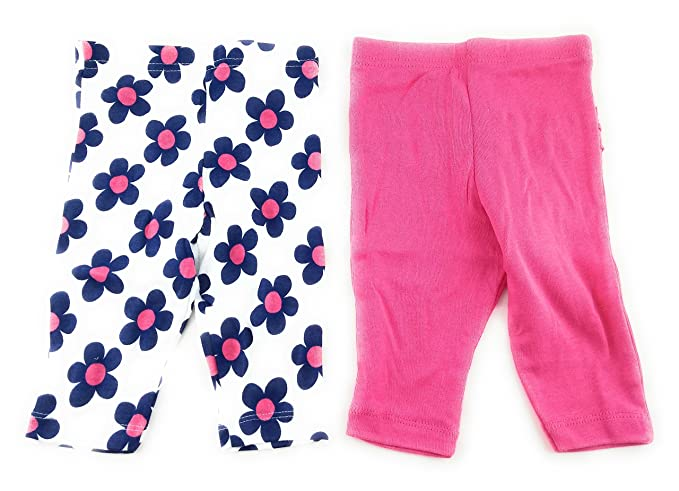 f6532a7991805 Amazon.com: Gerber 2 Pack Baby Girls Pink Floral Ruffled Leggings ...