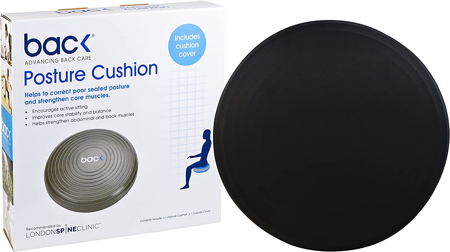BackPainHelp Inflated Stability Wobble Cushion, Improves Posture & Lower Back Pain | Sciatica Pain Relief | Exercise Fitness Core Balance Disc (Black)