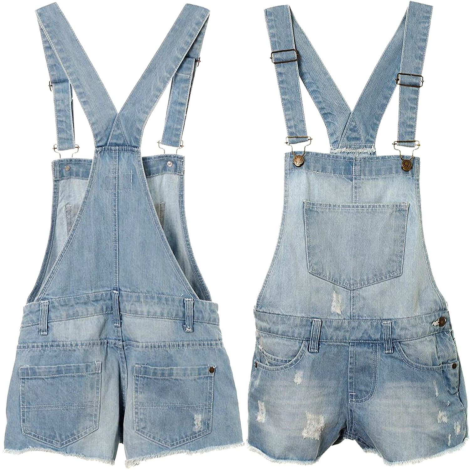 AEL Aelstores New Girls Kids Denim Dungaree Outfit Shorts Dress Jumpsuit Party Size 3-14 Years Colour Stone Wash Size