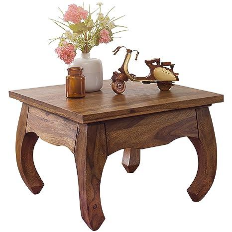 WOHNLING Couchtisch Massiv-Holz Sheesham 60 cm breit Design dunkel-braun  Landhaus-Stil Beistelltisch Natur-Produkt Wohnzimmermöbel Unikat ...