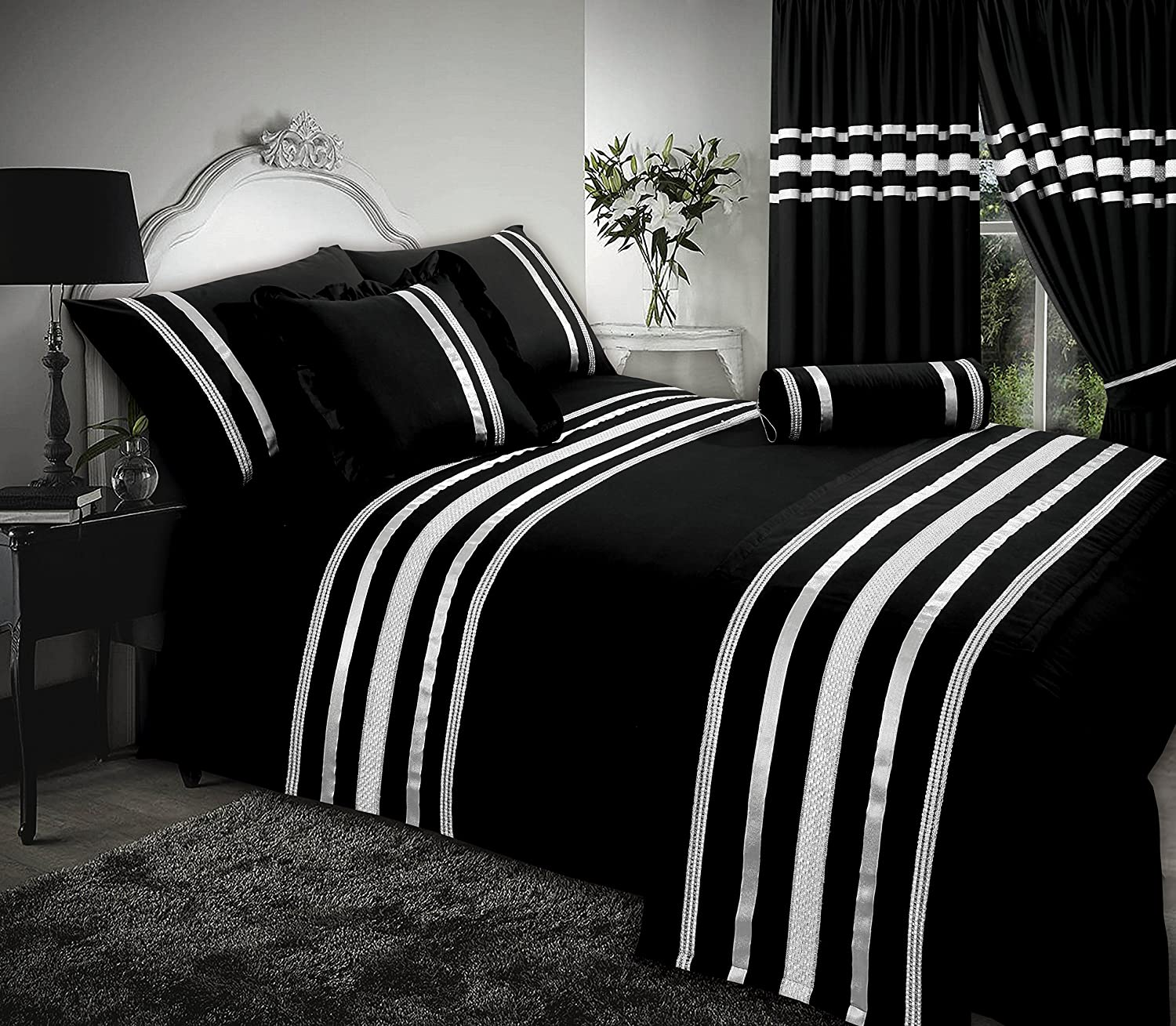 Glamour Black With Silver Trim Super King Size Bed Duvet Quilt