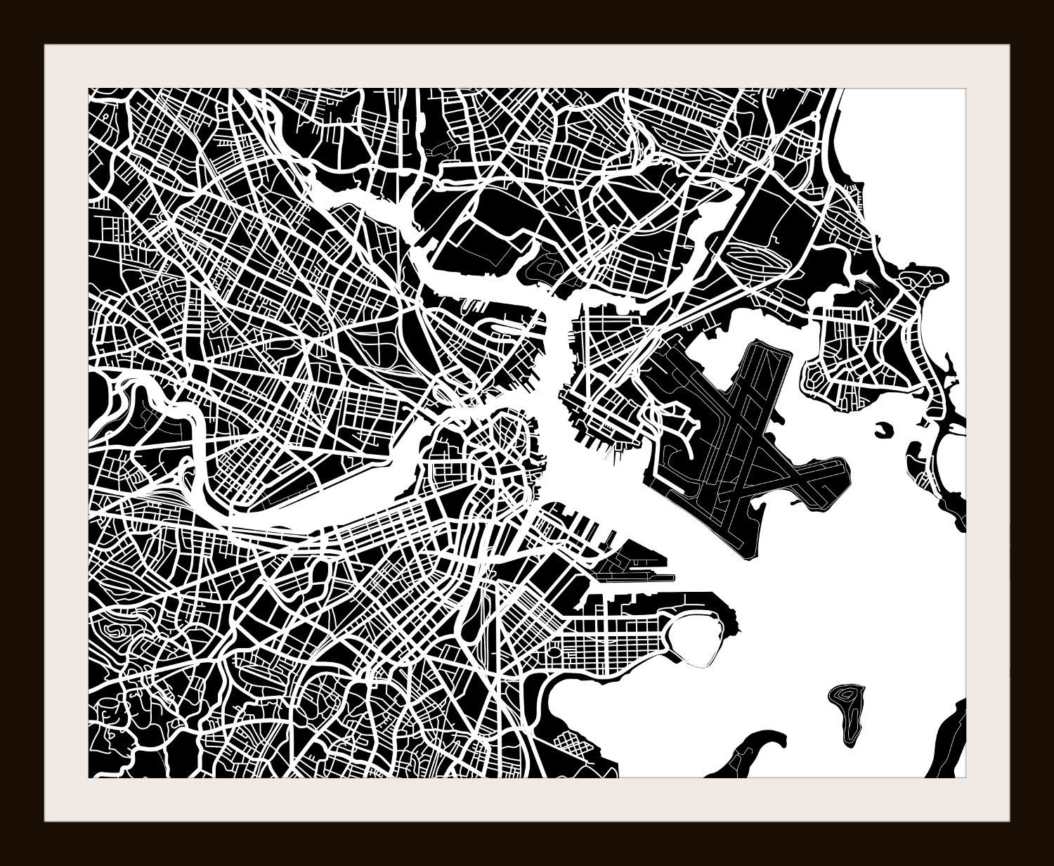 Amazon.com: Boston, MA City Print By Map Wall Art   11 X 14 (Black U0026  White): Posters U0026 Prints