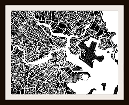 Boston, MA City Print By Map Wall Art   11 X 14 (Black U0026