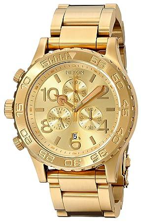 Nixon 42-20 Chrono A037502-00 - Reloj cronógrafo de cuarzo unisex, correa de acero inoxidable chapado color dorado (cronómetro): Nixon: Amazon.es: Relojes