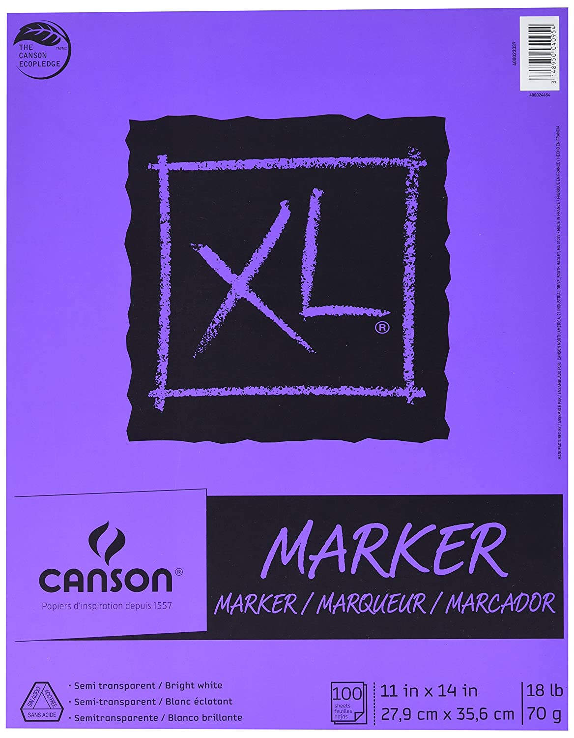 400023336 Canson XL Series Marker Paper Pad 9 x 12 Inch Fold Over 100 Sheets 18 Pound Semi Translucent for Pen Pencil or Marker White