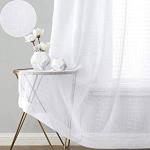 Beauoop Geo Sheer Curtains Buffalo Check Gingham Voile Window Panels Light Filtering Drapes Grid Rod Pocket Window Treatment Sets for Living Room, Bedroom & Farmhouse, White, 52 x 84 Inches, 2 Panels